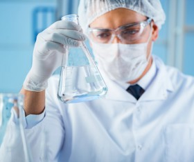 Scientists in the laboratory to observe water changes Stock Photo 03