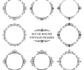 Set of round vintage frame vector