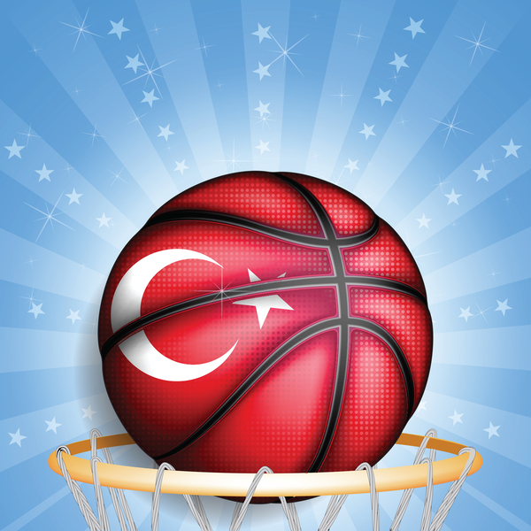 Shiny basketball background turkish styles vector