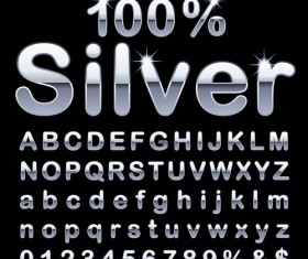 Shiny silver alphabet with numbers vectors material 02