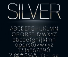 Shiny silver alphabet with numbers vectors material 03