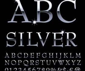 Shiny silver alphabet with numbers vectors material 04
