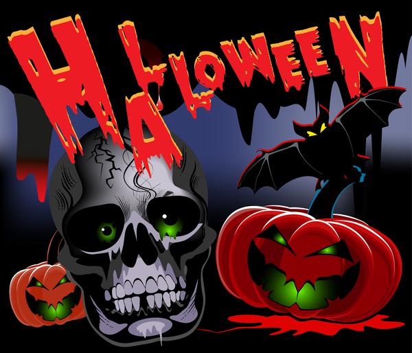 Skull with halloween background vectors 01