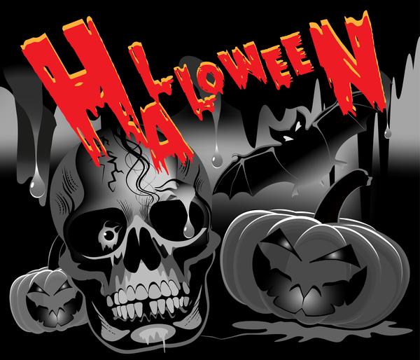 Skull with halloween background vectors 02
