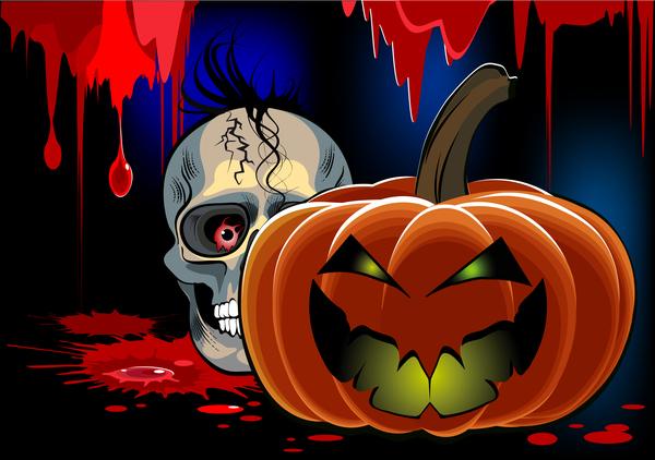 Skull with halloween background vectors 03