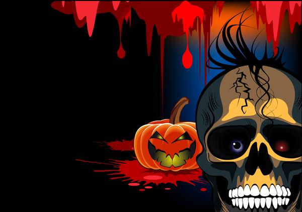 Skull with halloween background vectors 04