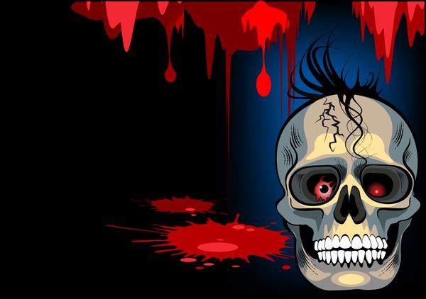 Skull with halloween background vectors 05