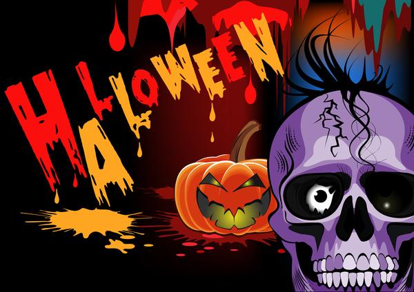 Skull with halloween background vectors 06