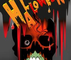 Skull with halloween background vectors 07