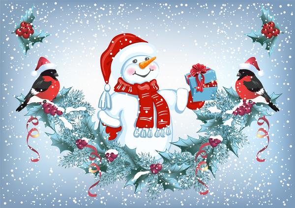 Snowman and bird with christmas backgorund vector