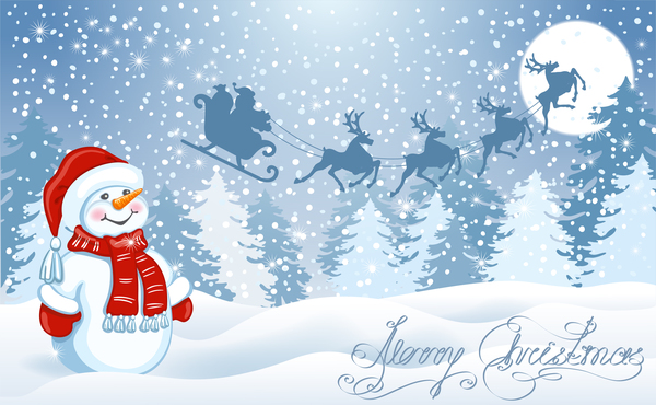 Snowman with christmas winter background vector