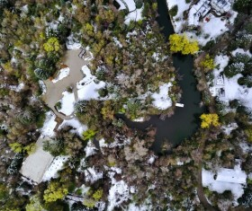 Snowy calm landscape from high view Stock Photo
