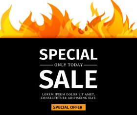 Special sale background with flame vector 01