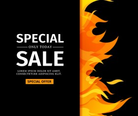Special sale background with flame vector 04