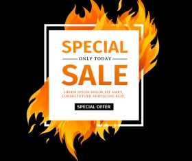 Special sale flame frame with black background vector 01