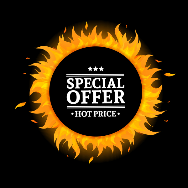 Special sale flame frame with black background vector 02