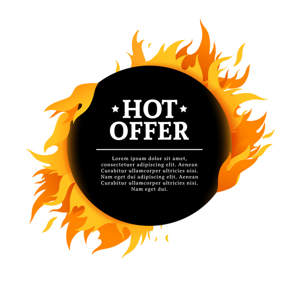 Special sale flame frame with white background vector 01