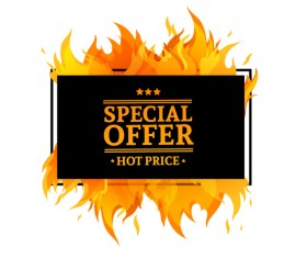 Special sale flame frame with white background vector 02