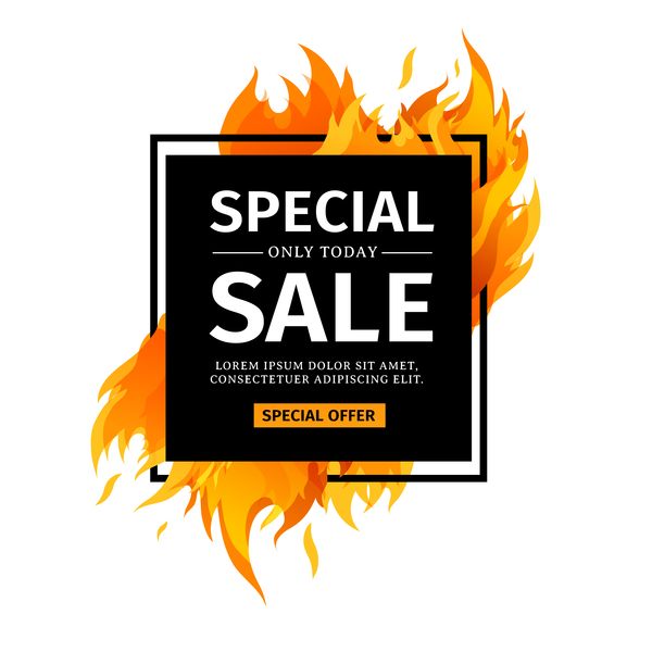 Special sale flame frame with white background vector 03