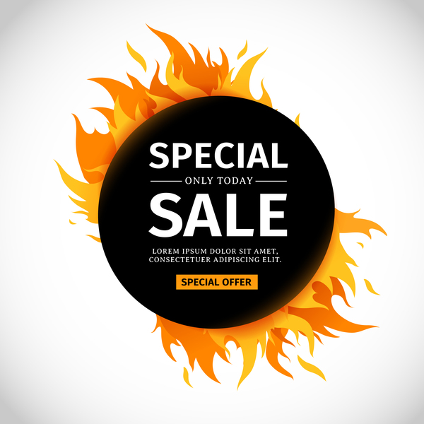 Special sale flame frame with white background vector 04