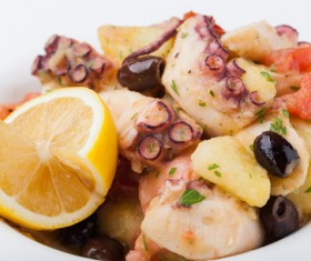Squid with lemon olives Stock Photo 02