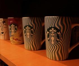 Starbucks coffee cups Stock Photo