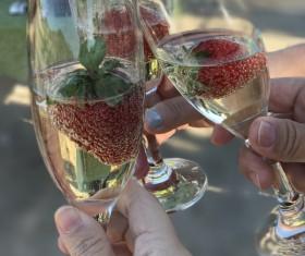 Strawberry expensive rot wine Stock Photo
