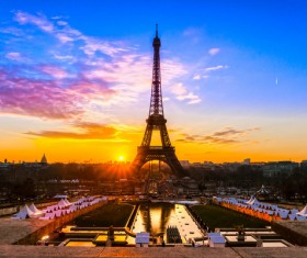Sunrise Paris Eiffel Tower Stock Photo