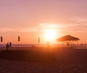 Sunrise tropical beach Stock Photo