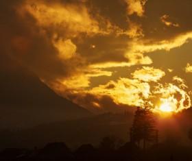 Sunset beautiful mountain area Stock Photo