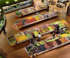Supermarket organic vegetable stalls Stock Photo