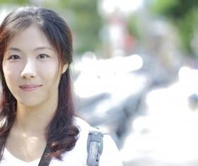 Sweet smile of Asian girl Stock Photo