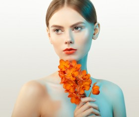 Temperament elegant girl holding orchid Stock Photo 02