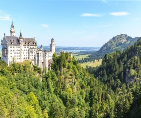 The ancient castle on the top of the mountain Stock Photo