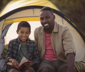 The father and son outdoor camping Stock Photo 01