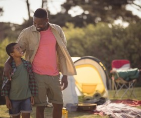 The father and son outdoor camping Stock Photo 02