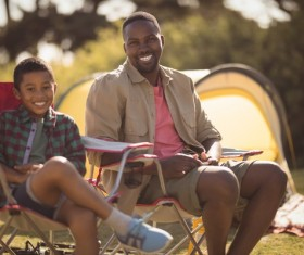 The father and son outdoor camping Stock Photo 03