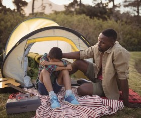 The father and son outdoor camping Stock Photo 06