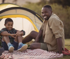 The father and son outdoor camping Stock Photo 07