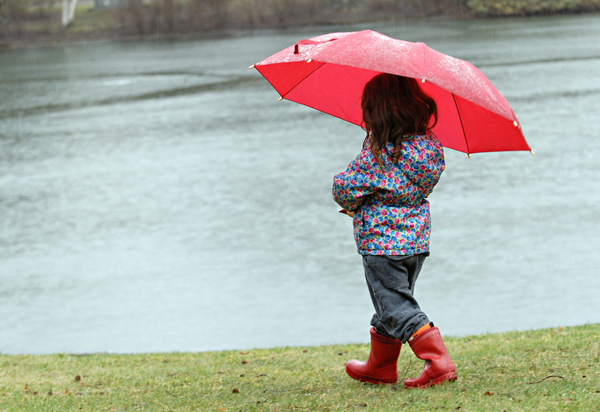 The little girl with an umbrella on rainy day Stock Photo 01