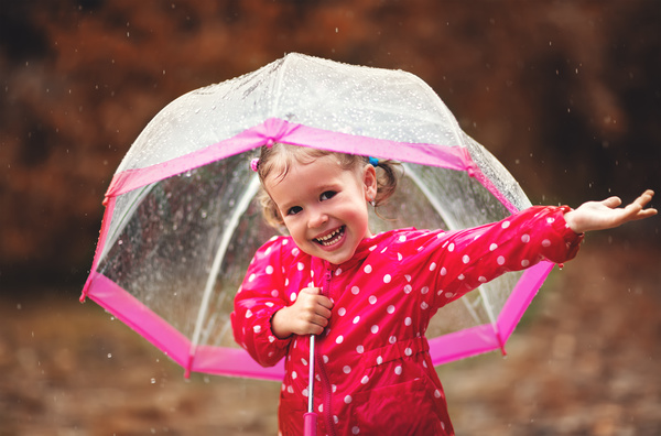 The little girl with an umbrella on rainy day Stock Photo 02