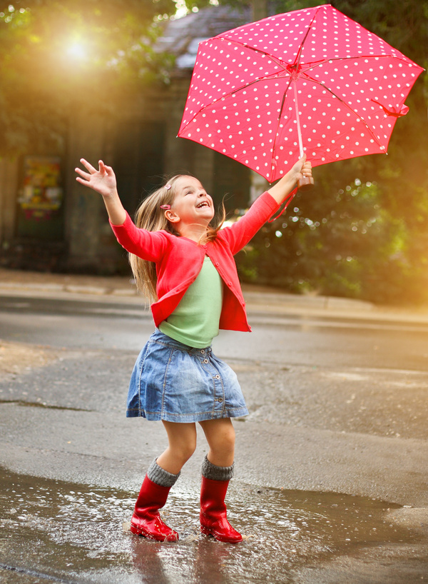 The little girl with an umbrella on rainy day Stock Photo 06