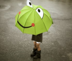 The little girl with an umbrella on rainy day Stock Photo 09
