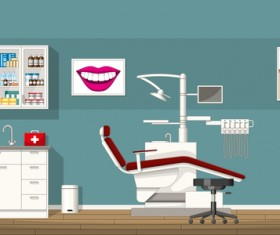 Tooth doctor and office design vector 01