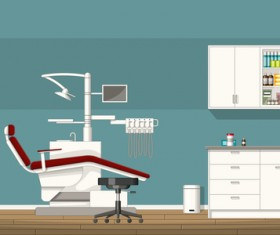 Tooth doctor and office design vector 02