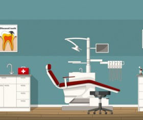 Tooth doctor and office design vector 03