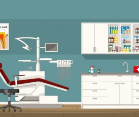 Tooth doctor and office design vector 05