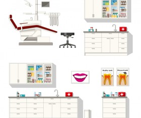 Tooth doctor and office design vector 06