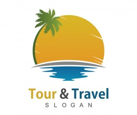 Tour with travel beach logo vector