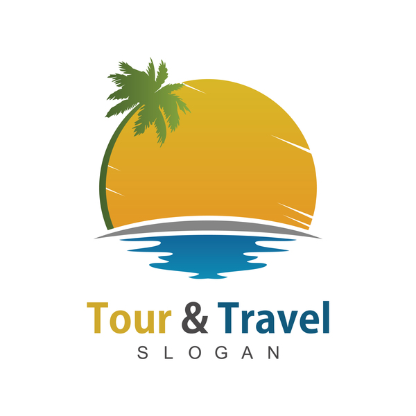 tour with travel beach logo vector free download